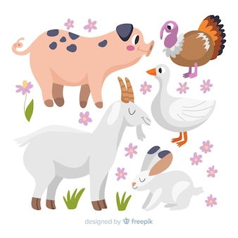 Collection d'animaux de ferme mignons dessinés à la main