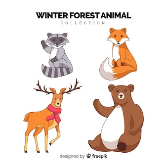 Collection d'animaux forestiers d'hiver