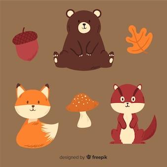 Collection d'animaux de la forêt automne dessinés à la main