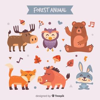Collection D'animaux De La Forêt Automne Dessinés à La Main Vecteur Premium