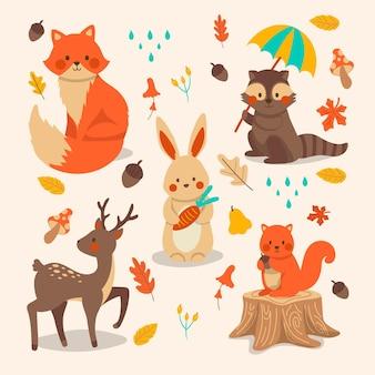 Collection d'animaux de la forêt d'automne dessinés à la main
