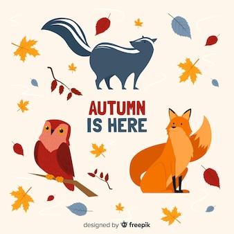 Collection d'animaux de la forêt d'automne plat