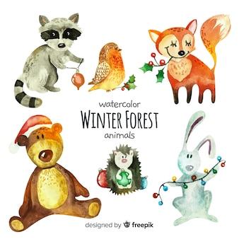 Collection d'animaux de la forêt d'hiver aquarelle