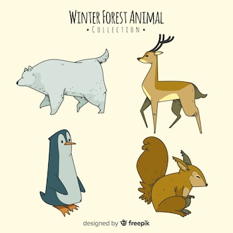 Collection d'animaux de la forêt d'hiver dessinés à la main