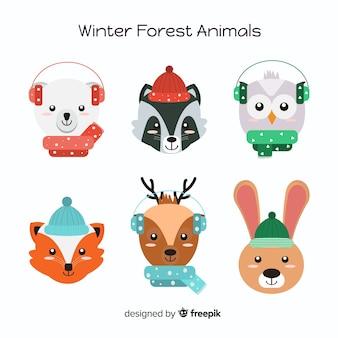 Collection d'animaux de la forêt d'hiver