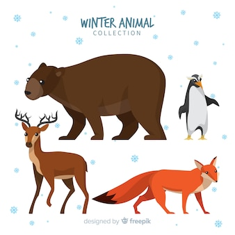 Collection d'animaux d'hiver