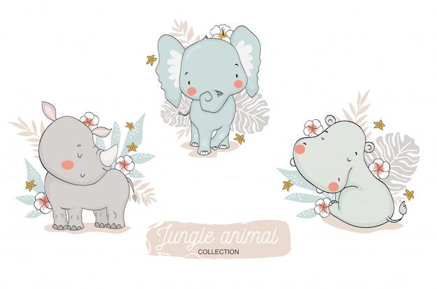 Collection d'animaux de jungle bébé mignon. éléphant de dessin animé, rhinocéros, personnages de safari hippopotame