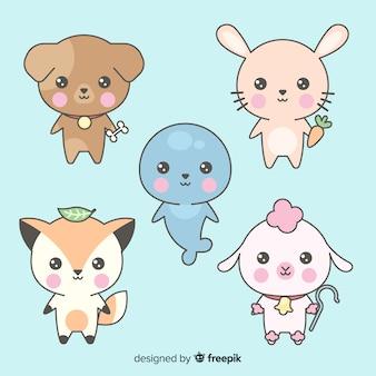 Collection d'animaux kawaii dessinés à la main