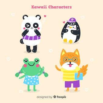 Collection d'animaux kawaii dessinés à la main