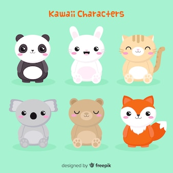 Collection d'animaux kawaii plats