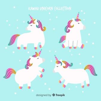 Collection d'animaux licornes kawaii