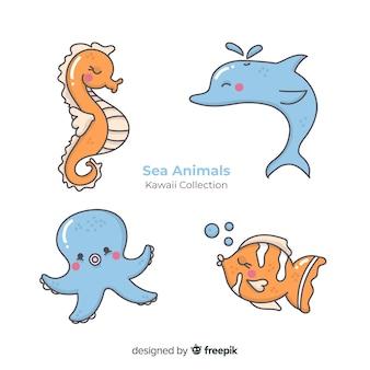 Collection d'animaux marins dessinés à la main kawaii