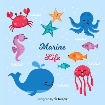 Collection d'animaux marins dessinés à la main