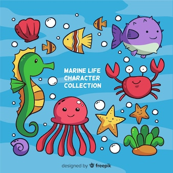 Collection d'animaux marins kawaii colorés
