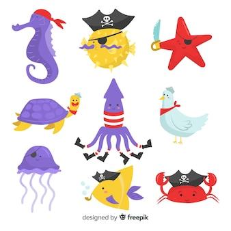 Collection d'animaux marins pirate dessinés à la main