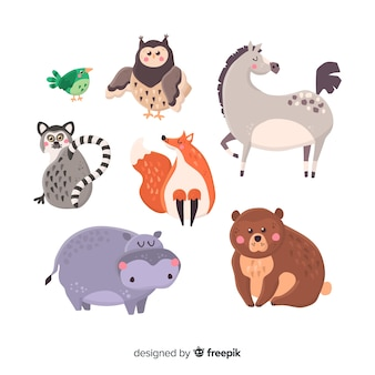 Collection d'animaux mignons dessinés à la main