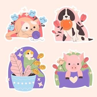 Collection d'animaux mignons dessinés à la main