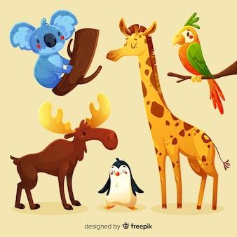 Collection d'animaux mignons de différents environnement