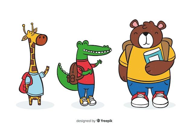 Collection d'animaux mignons avec des fournitures scolaires