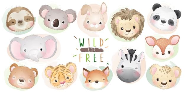 Collection d'animaux mignons de griffonnage