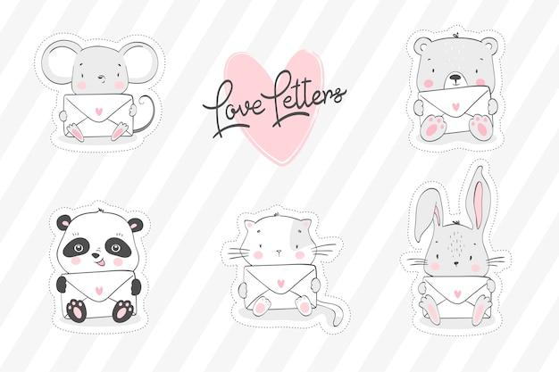 Collection d'animaux mignons avec des lettres dans les mains