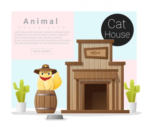 Collection d'animaux mignons, maison de chat