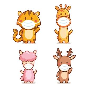 Collection d'animaux mignons portant des masques médicaux