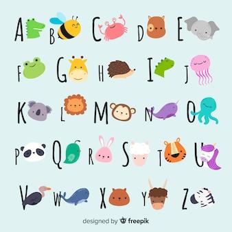 Collection d'animaux mignons avec des visages