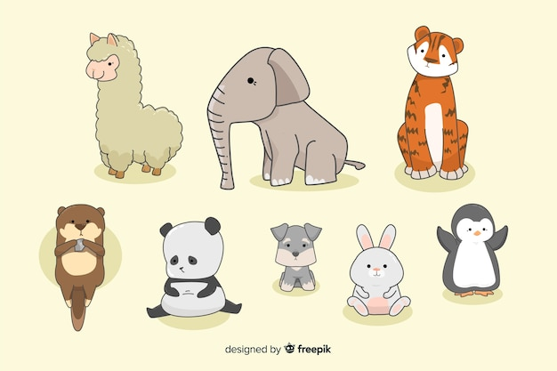 Collection d'animaux minuscules kawaii dessinés à la main