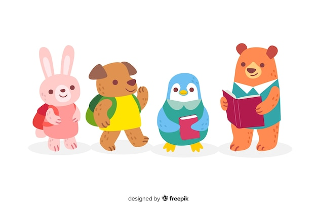Collection d'animaux pour la rentrée des classes