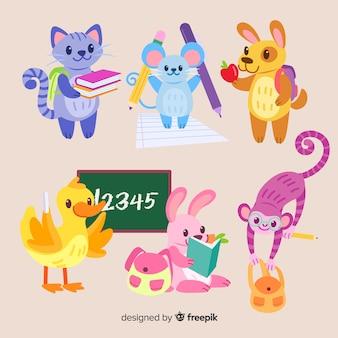 Collection d'animaux pour la rentrée scolaire