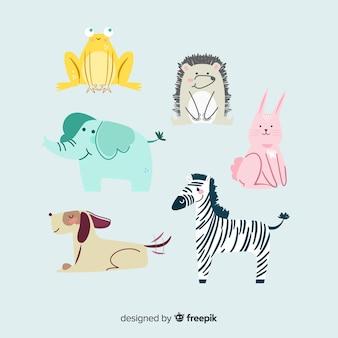 Collection d'animaux sauvages dans le style des enfants