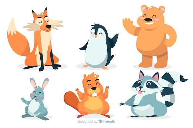 Collection d'animaux sauvages de dessins animés artistiques