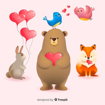 Collection d'animaux valentine