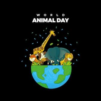 Collection d'animaux sur le vecteur de la journée mondiale des animaux