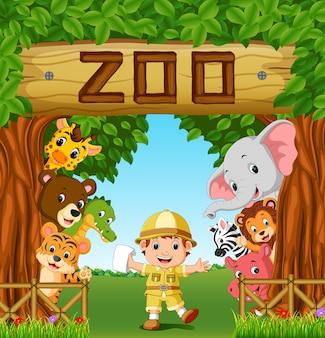 Collection d'animaux de zoo avec guide