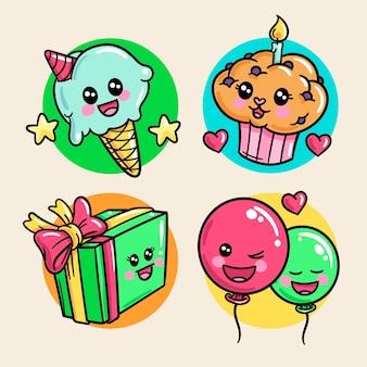 Collection d'anniversaire kawaii