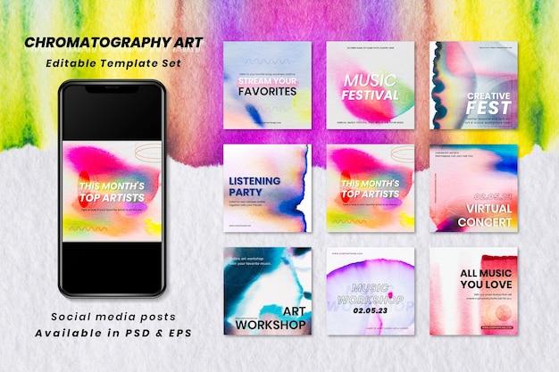Collection d'annonces de médias sociaux d'événement de vecteur de modèle de musique colorée de chromatographie