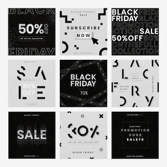 Collection d'annonces de vente de fond texturé vector black friday