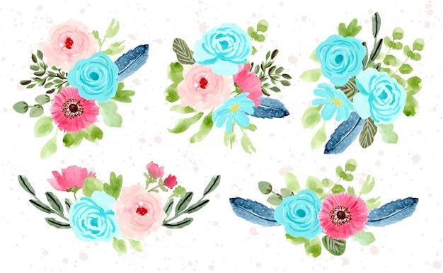 Collection aquarelle d'arrangement de fleurs
