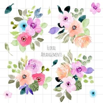 Collection aquarelle d'arrangement floral
