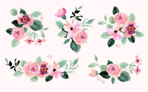 Collection aquarelle de beau bouquet de fleurs
