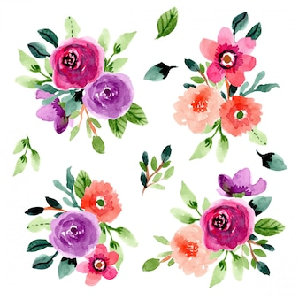 Collection aquarelle bouquet de fleurs