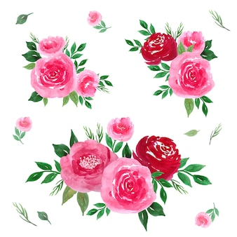 Collection aquarelle de bouquet floral rose