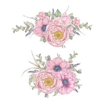 Collection aquarelle de bouquet floral