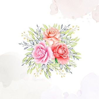 Collection aquarelle de cadre bouquet de fleurs