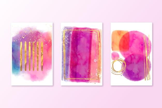 Collection d'aquarelle couvre des couleurs vives