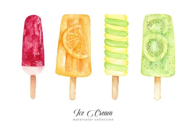 Collection aquarelle de crème glacée aux fruits et aux fruits