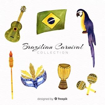 Collection aquarelle d'éléments de carnaval brésilien