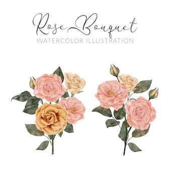 Collection d'aquarelle de fleur rose peinte à la main